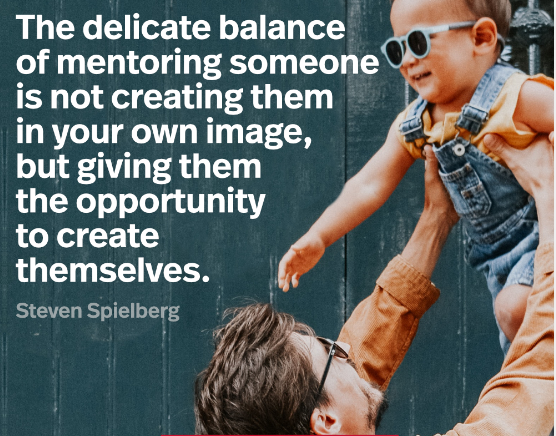 """""""The delicate balance of mentoring someone is not creating them in your own image, but giving them the opportunity to create themselves."""" – Steven Spielberg. [1536×2048]"""