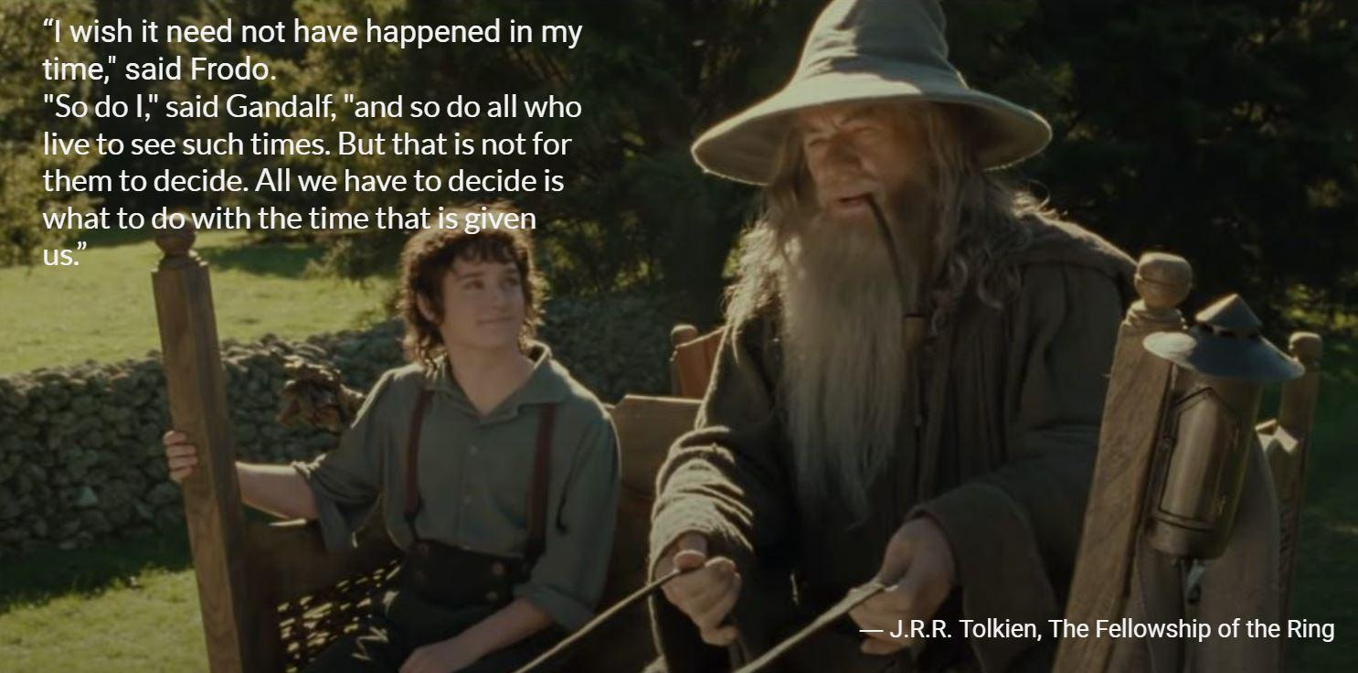 """sh it (lad not @7 ha ppened In my ,'i' ',§"""" d """"saiq'FroW o I,"""" said Gandalffam so do all who ' 5 a see such tirfis; By that"""" IS not for '1 Q/'R R. Tolkien, Tlfe [fellowship of https://inspirational.ly"""