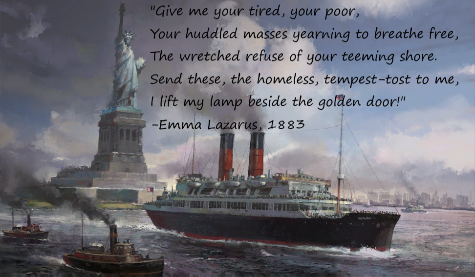 """""""Give me your tired, your poor, your huddled masses yearning to brethe free…"""" – Emma Lazarus: The New Colossus. [972×568]"""