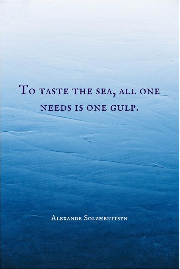 """To taste the sea, all one needs is one gulp."" –Alexandr Solzhenitsyn [574×858]"