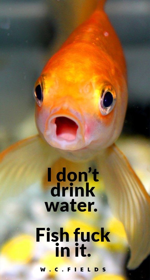 """""""I don't drink water. Fish f*ck in it."""" – W. C. Fields (American comedian and actor) 1898–1946 [578×1080]"""