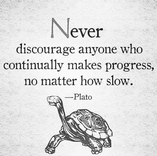 [Image] Never discourage anyone who continually makes progress, no matter how slow.