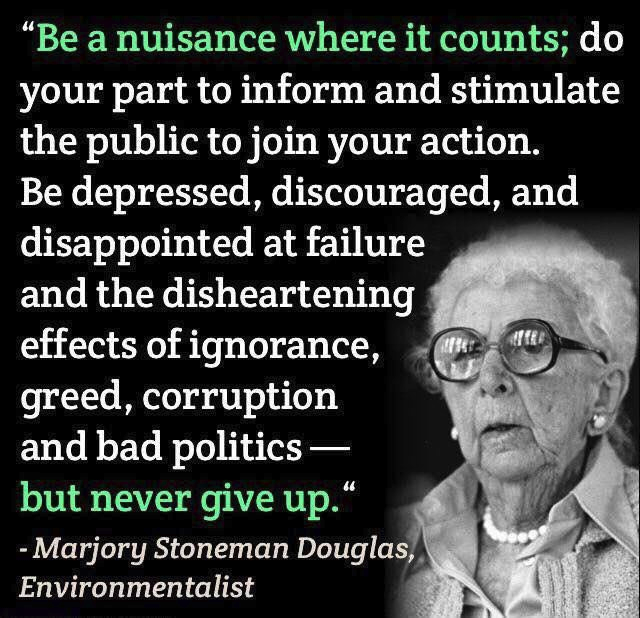"""""""Be a nuisance where it counts; do your part to inform and stimulate the public to join your action. Be depressed, discouraged, and disappointed at failure and the disheartening effects of ignorance, greed, corruption and bad politics- but never give up."""" – Marjory Stoneman Douglas [640×618]"""