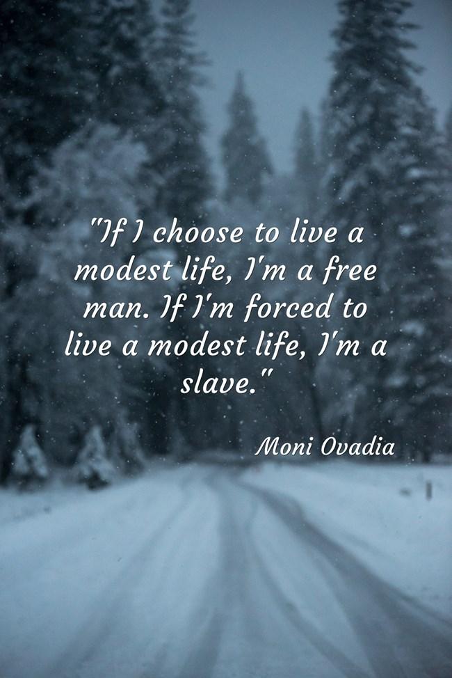 """""""If I choose to live a modest life, I'm a free man. If I'm forced to live a modest life, I'm a slave."""" – Moni Ovadia [650×974]"""