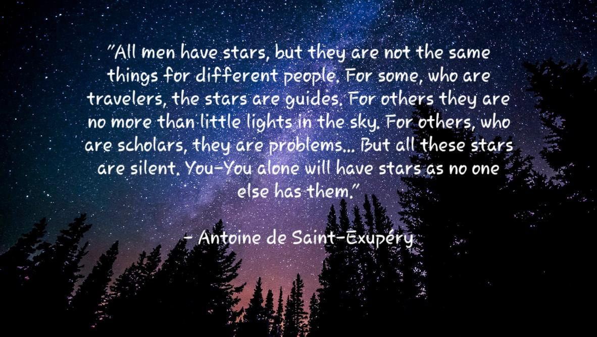 All men have stars, but they are not the same things for different people. For some, who are travelers, the stars are guides. For others they are no more than little lights in the sky. -Antoine de Saint-Exupéry [1190×668]