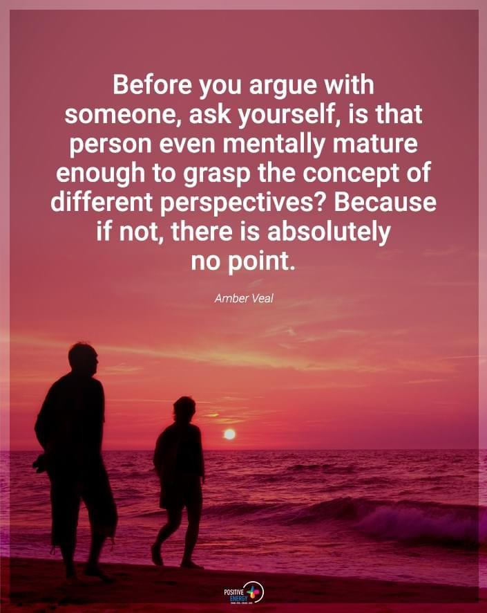 """""""Before you argue with someone, ask yourself, is that person even mentally mature enough to grasp the concept of different perspectives? Because if not, there is absolutely no point."""" – Amber Veal [705×886]"""