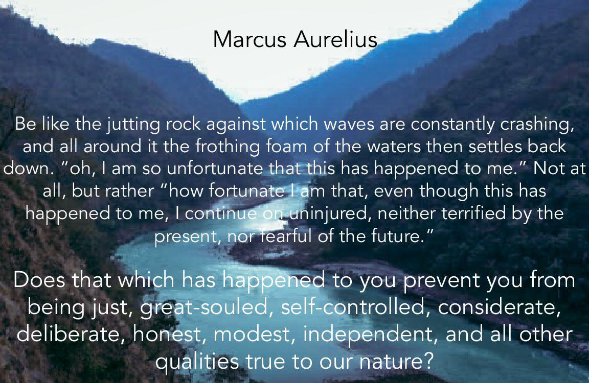 Be like the jutting rock against which waves are constantly crashing, and all around it the frothing foam of the waters then settles back down. Marcus Aurelius [1152×750]