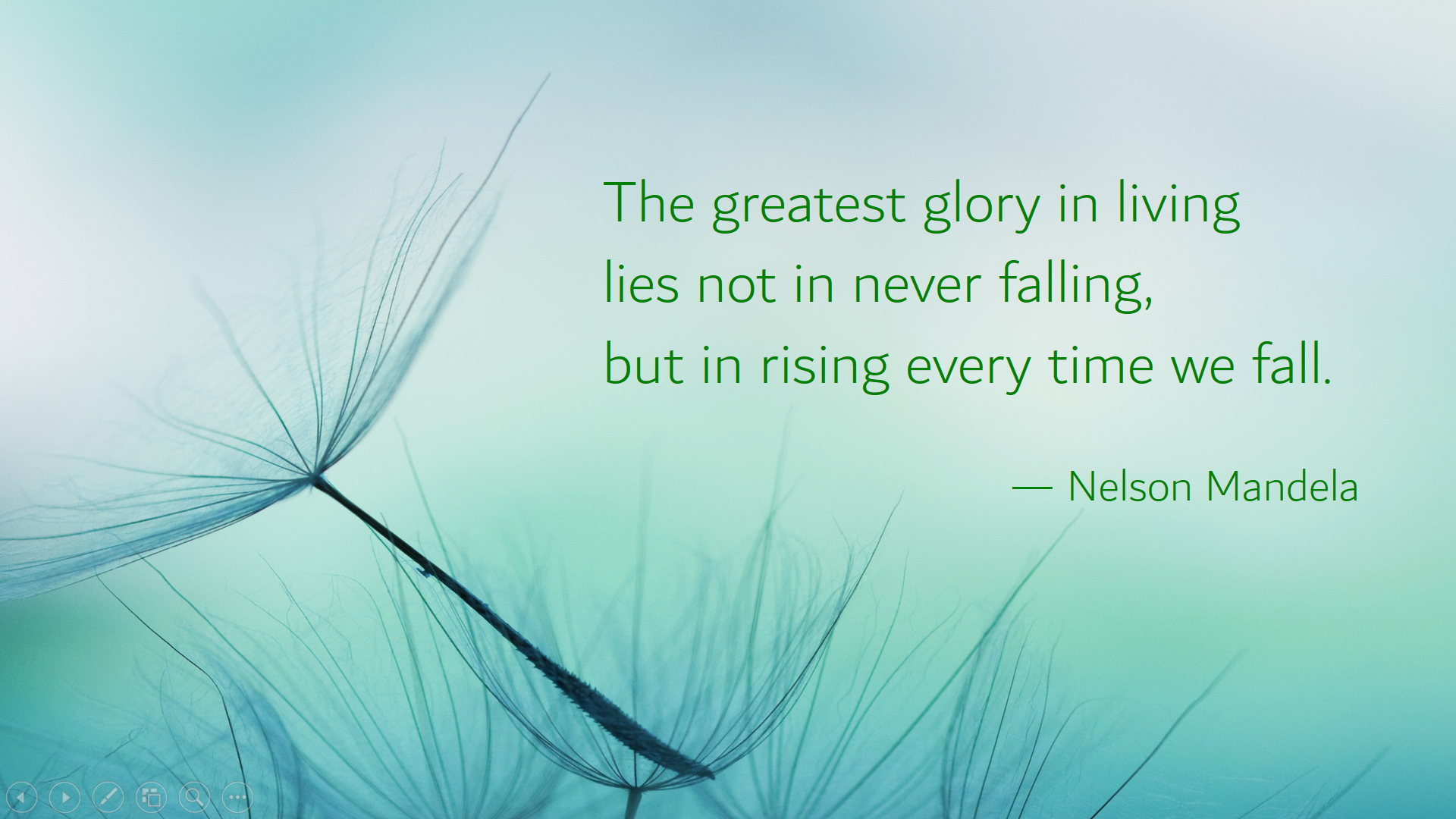 """""""The greatest glory in living lies not in never falling, but in rising every time we fall."""" –Nelson Mandela [1920 x 1080]"""