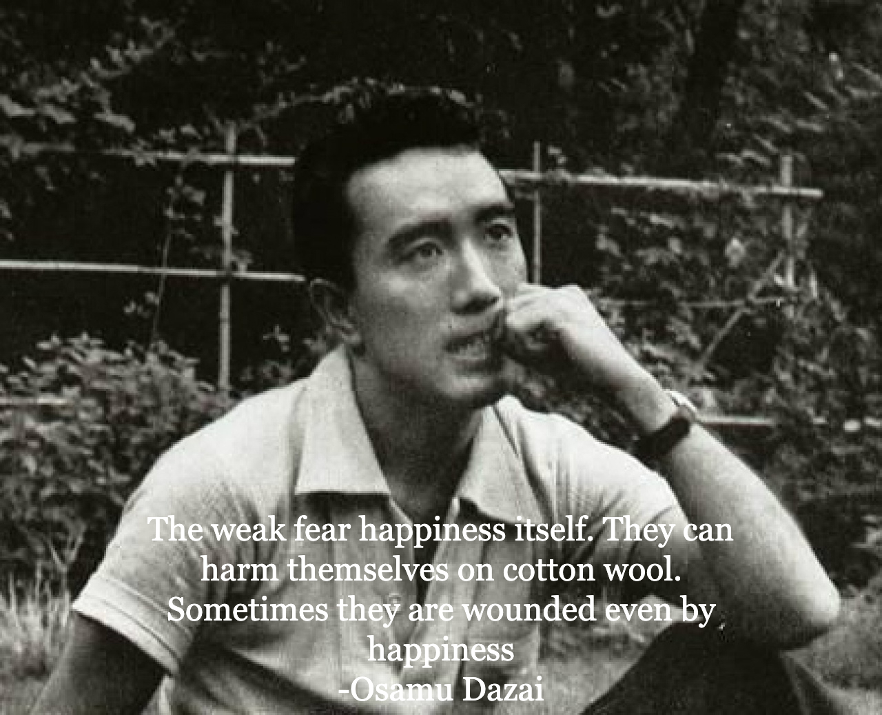 """""""The weak fear happiness itself. They can harm themselves on cotton wool. Sometimes they are wounded even by happiness"""" – Osamu Dazai [1280 × 1037]"""