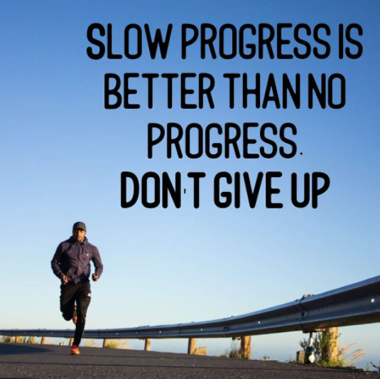 [Image] Slow progress is better than no progress. Never give up.