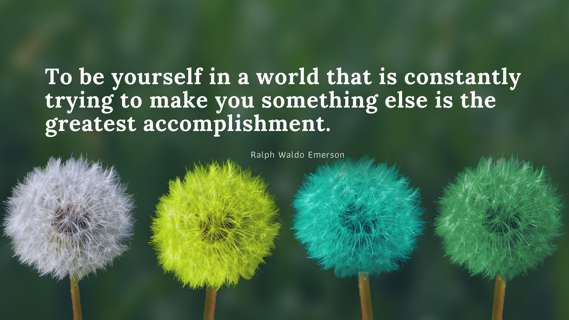 To be yourself in a world that is constantly trying to make you something else is the greatest accomplishment. https://inspirational.ly