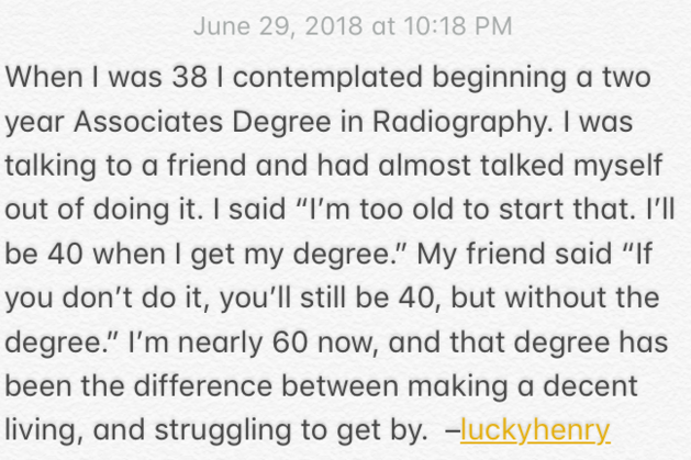 [Image] It's never too late to try something new