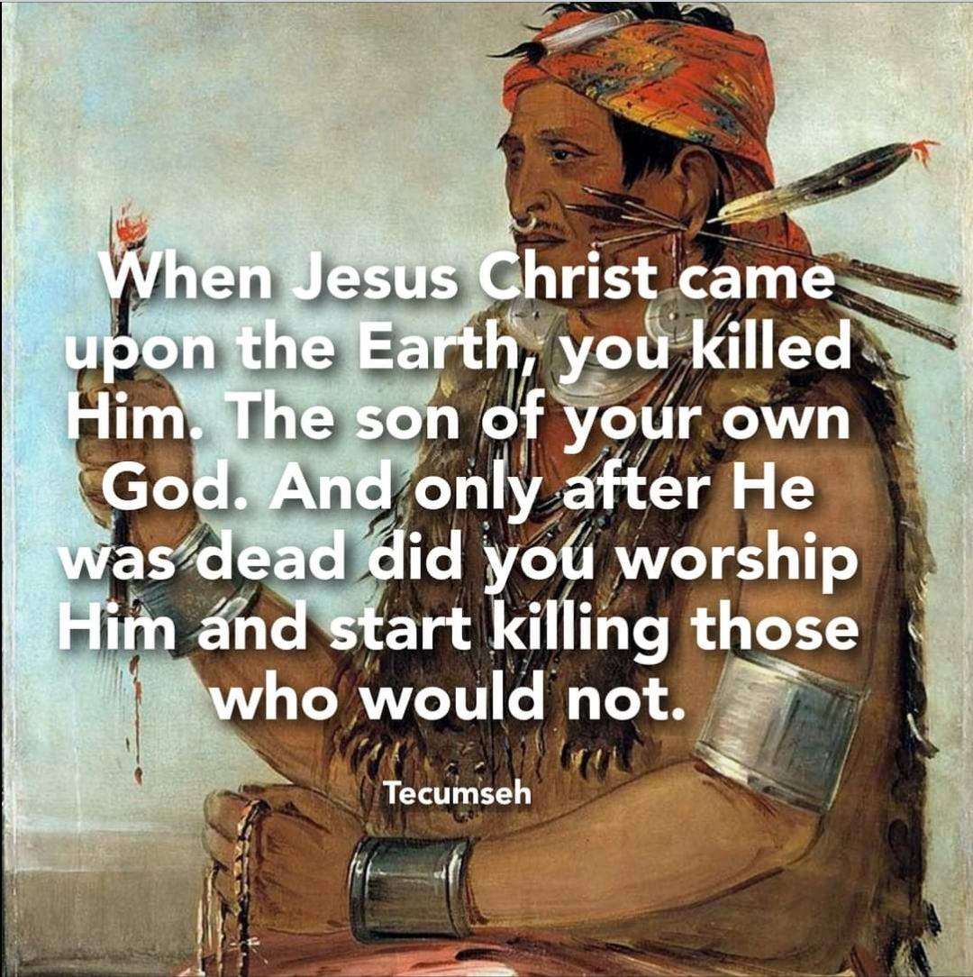 """""""When Jesus Christ came upon the Earth, you killed Him. The son of your own God. And only after He was dead did you worship Him and start killing those who would not."""" [1080×1080]"""