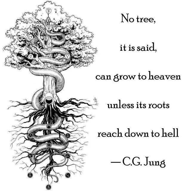 """""""No tree, it is said, can grow to heaven unless it's roots reach down to hell.""""- C.G.Jung [640×640]"""