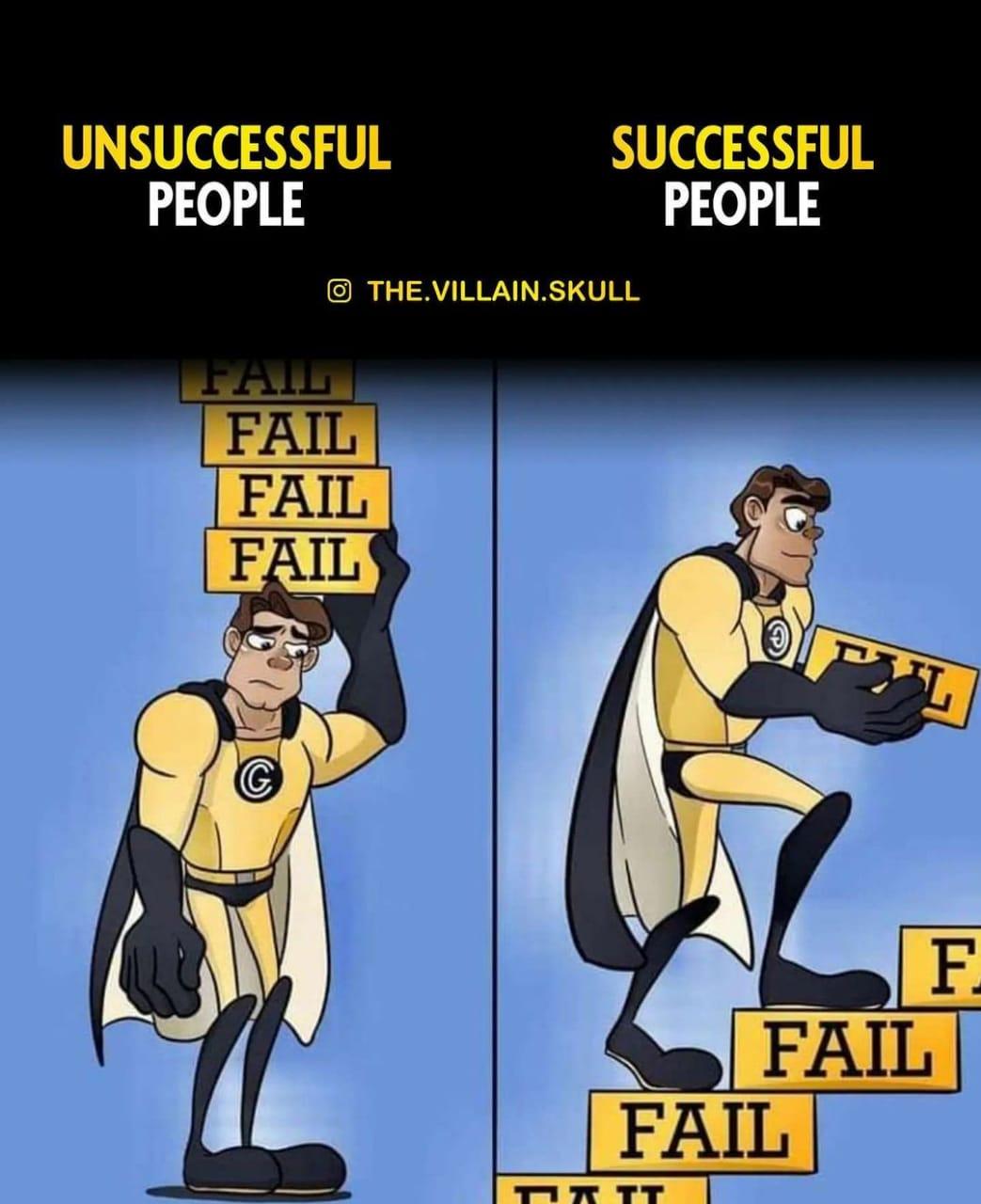 UNSUCCESSFUL SUCCESSFUL PEOPLE PEOPLE THE.V|LLAIN.SKULL H--—.ffl-—L—b—~.._ FAIL FAIL BEE! https://inspirational.ly