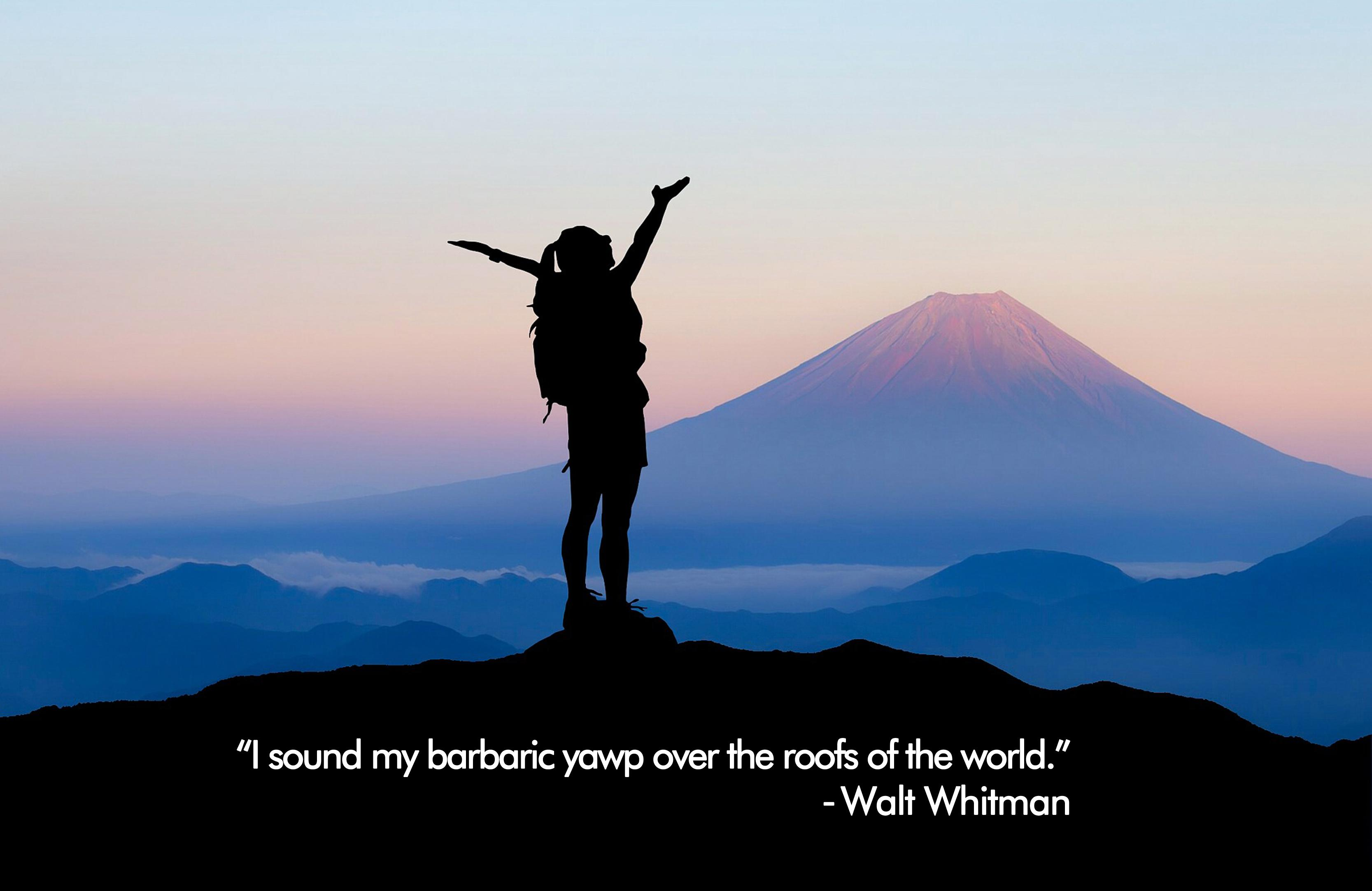 """""""I sound my barbaric yawp over the roofs of the world."""" -Walt Whitman [3333 x 2166p]"""