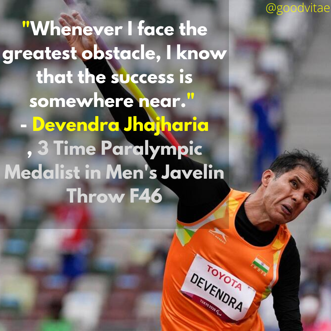 """""""Whenever I face the greatest obstacle, I know that the success is somewhere near."""" – Devendra Jhajharia [1080 X 1080]"""