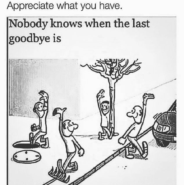 [Image] Always be grateful for what you have. No one knows when the last goodbye will be.