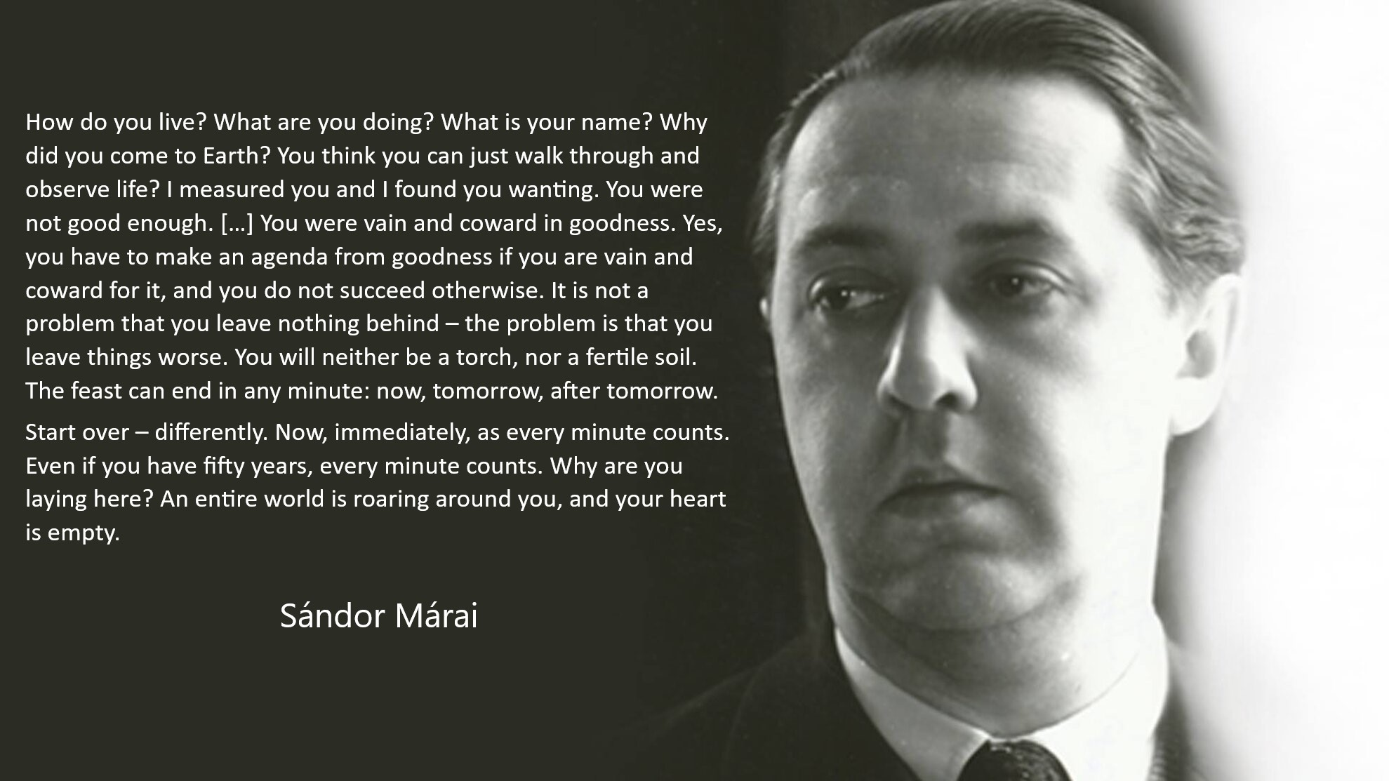 Start over – in another way. Now, immediately, as every minute counts. Even if you have fifty years, every minute counts. Why are you laying here? An entire world is roaring around you, and your heart is empty. (Sándor Márai) [1979×1113]