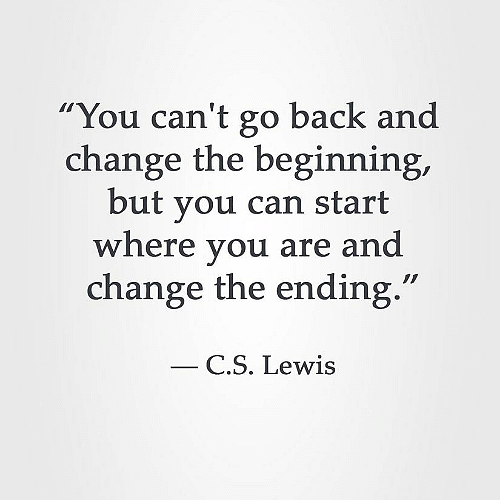 """""""You can't go back and change the beginning, but you can start Where you are and change the ending."""" —— CS. Lewis https://inspirational.ly"""