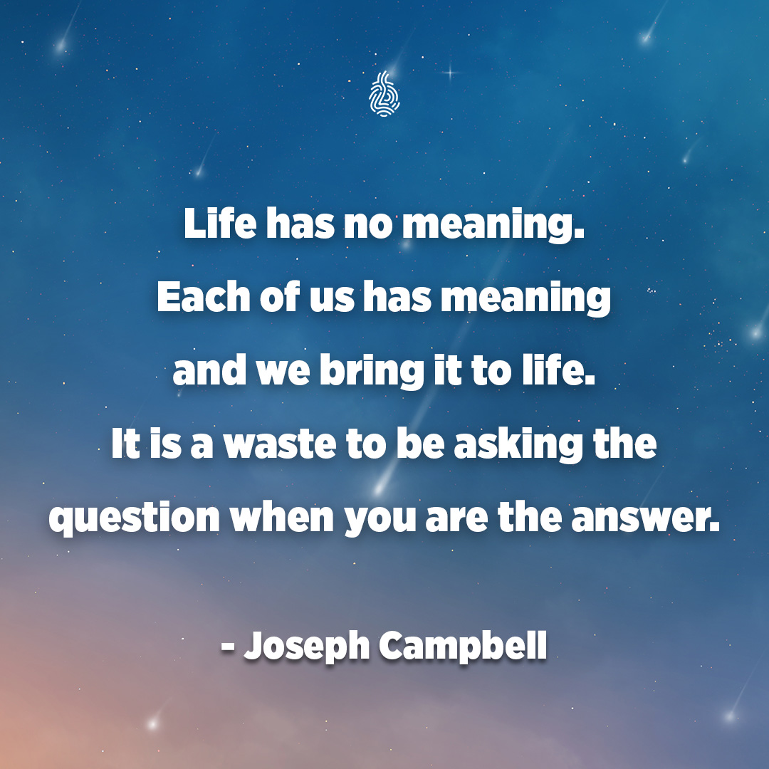 . Life has nomeaning. Each of us has meaning . and we bring it to life. _ - It is a waste to be asking the . I . question when you are the answer. - https://inspirational.ly