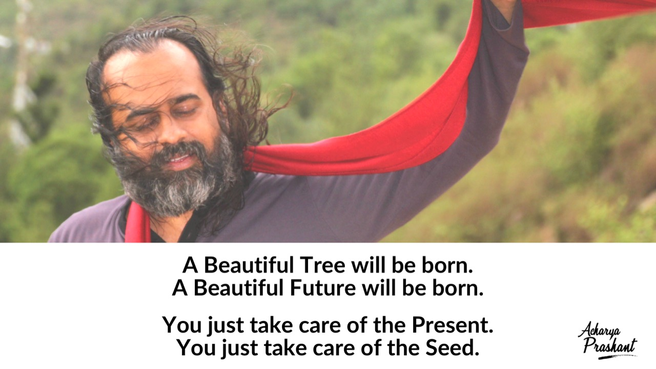 """""""A beautiful tree will be born,a beautiful future will be born. You just take care of the present, you just take care of the seed."""" ~Acharya Prashant [1280×721]"""