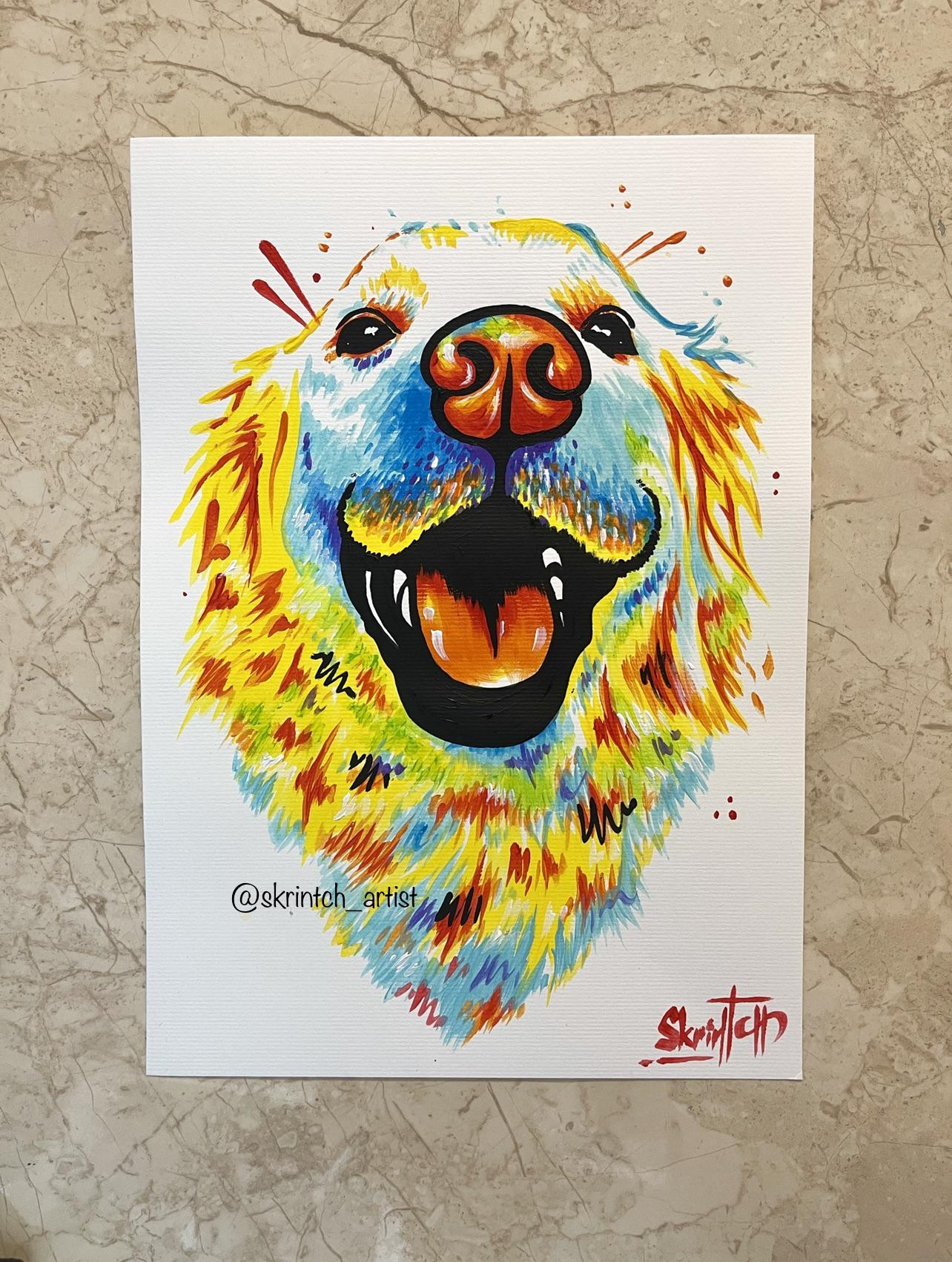 [Image] Art helps me stay sober for 6 years! I paint colourful pet portraits. I have time to paint several portraits like this for free. You can send me a photo if you want a colourful portrait of your or other pet