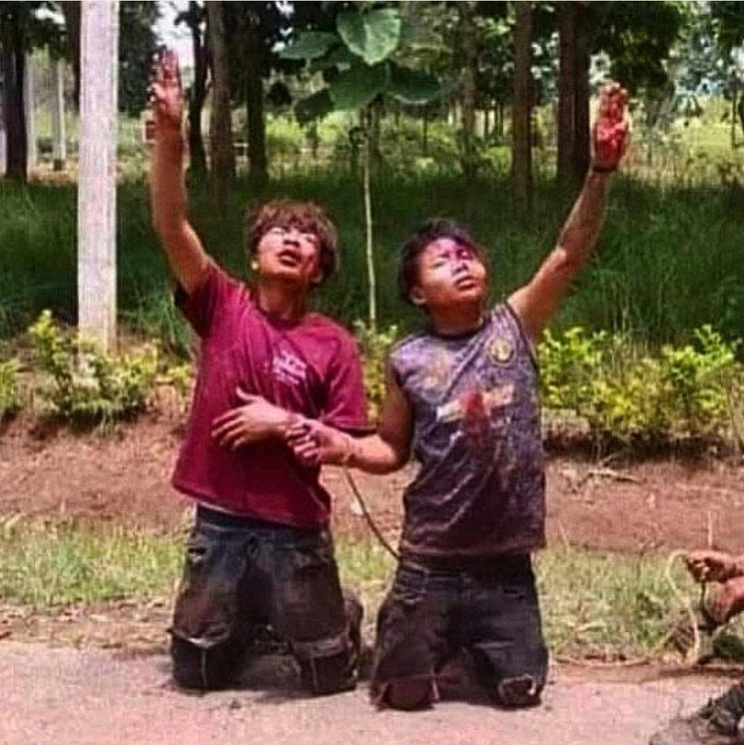 """Pointing 3 fingers in sky they said """"the revolution must prevail"""". Last words of 17y kids killed by junta army in myanmar village."""