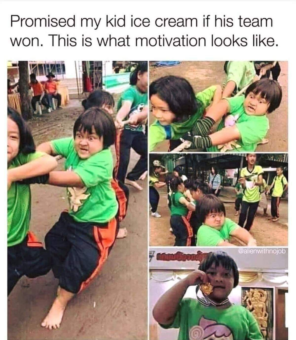 Promised My Kid Ice Cream If His Team Won. This Is What Motivation Looks Like. https://inspirational.ly